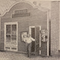 """""""Mister Charlie"""" Drace in front of his store on Hill Street, circa 1904."""