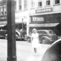 Graham-Cash Department Store is visible beside Efird's in this photograph from the 1940s.