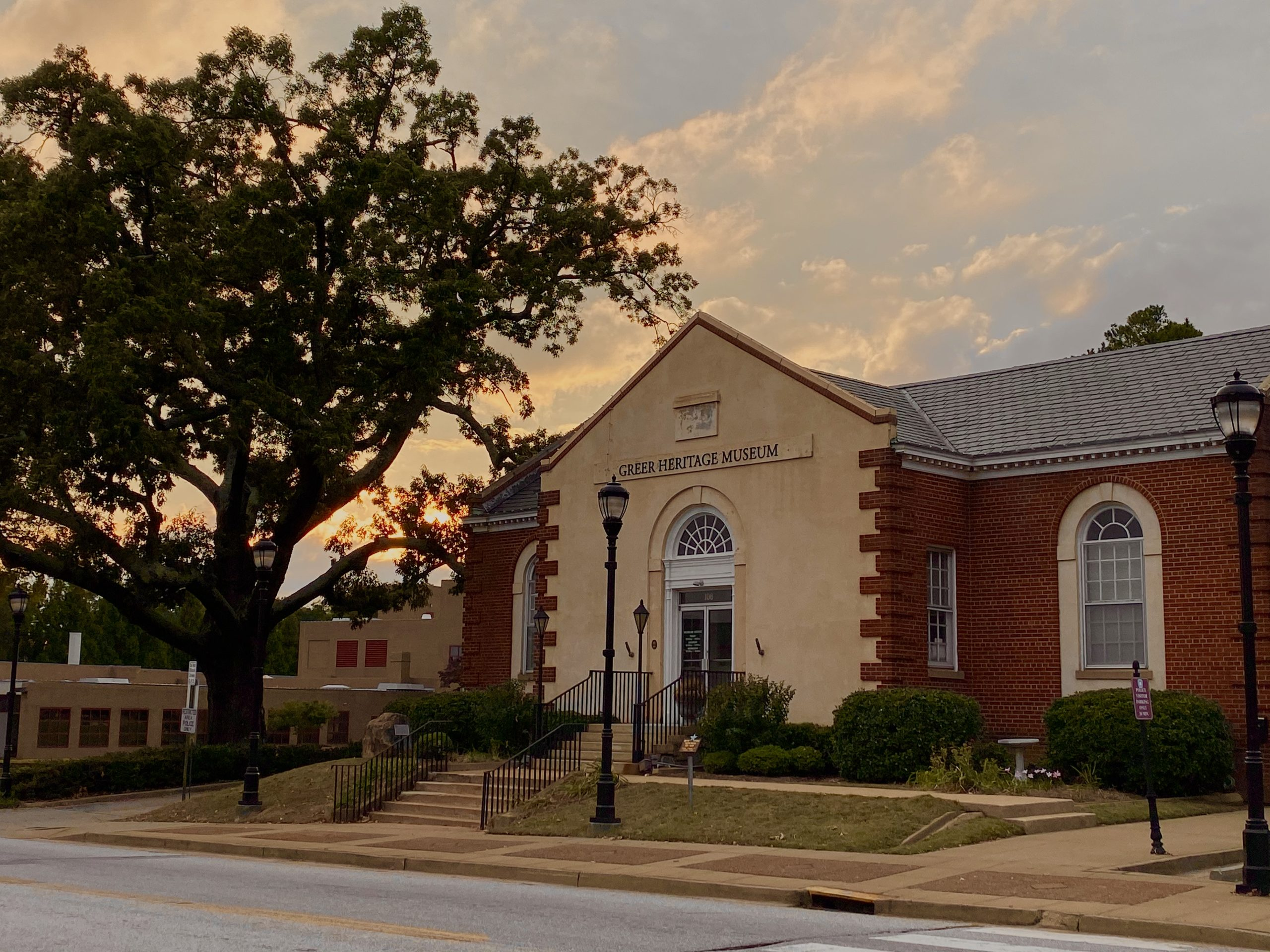 Greer Heritage Museum building at sunset